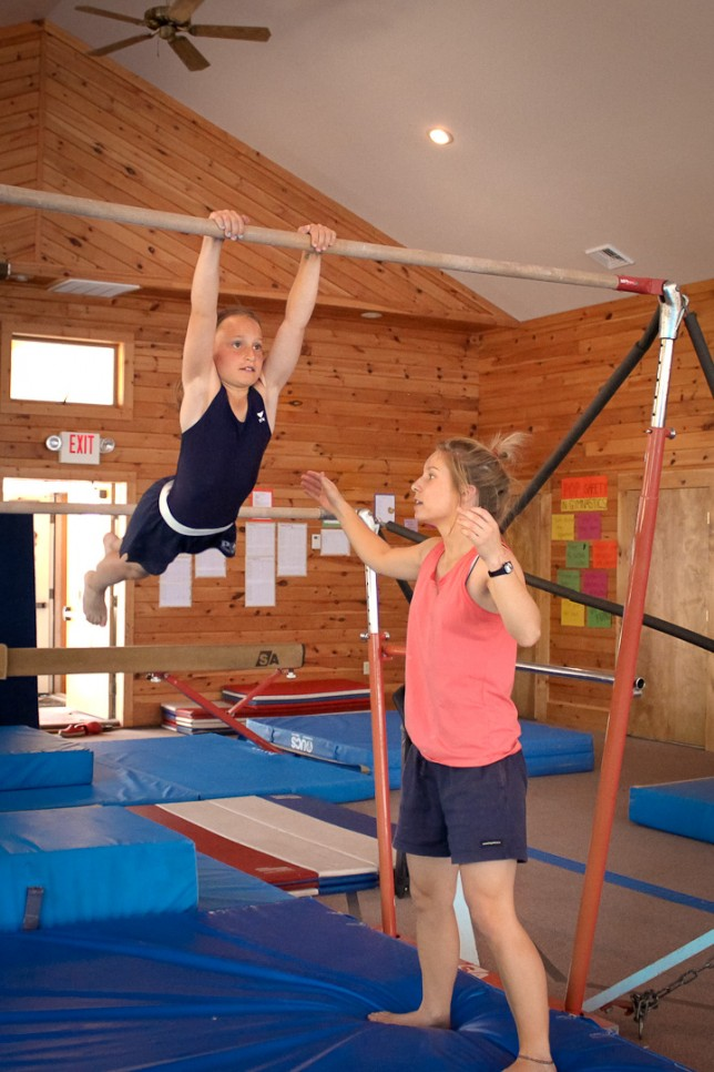 Instruction on the uneven bars