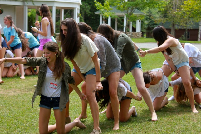 Alumnae trying the Snake Race