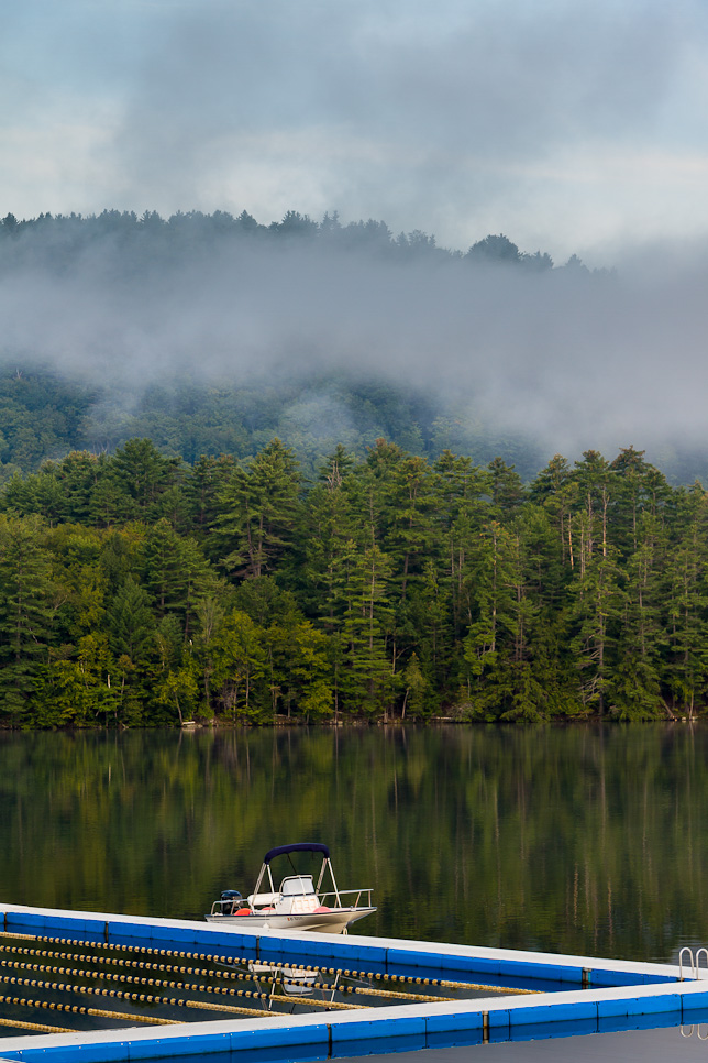 Fog lifting off Brant Lake for Early Bird