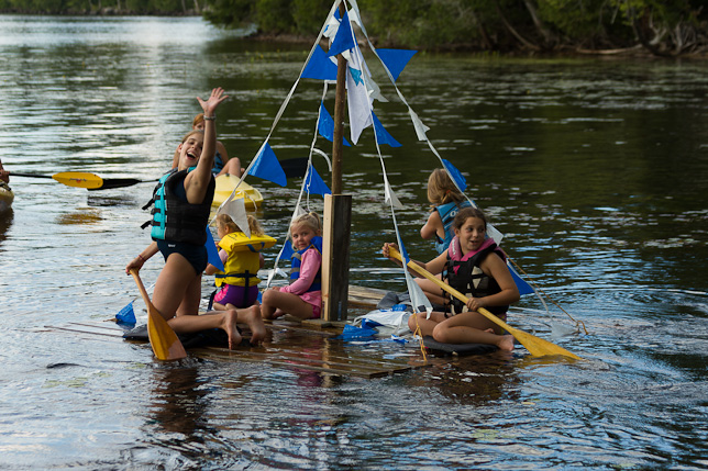 Campers on a raft.