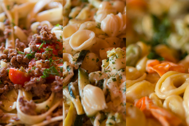 Selection of pastas at Point O'Pasta