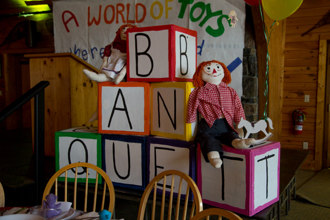 """Banquet decorations: giant toy blocks labeled """"BANQUET"""""""
