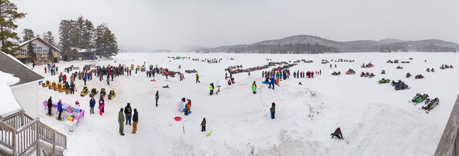 Wide view of the Brant Lake Winter Carnival
