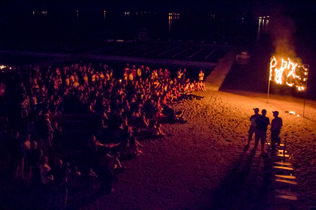 Campers gather to watch the letters burn 2017