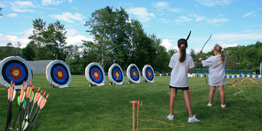 Campers line up for an exciting round of archery.