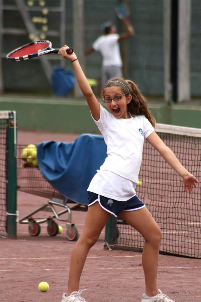 Victory dance on the tennis court