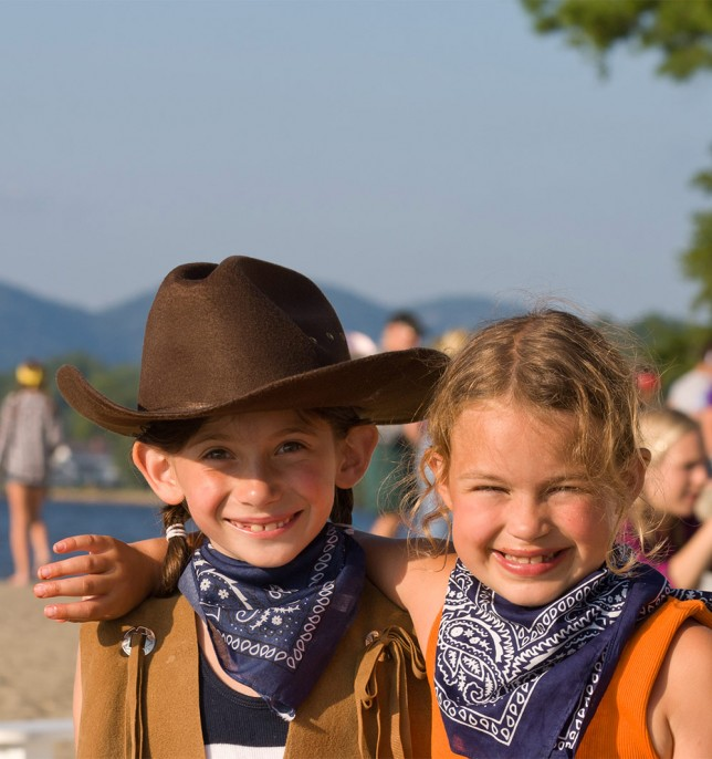 Campers dressed as cowgirls on Western Day