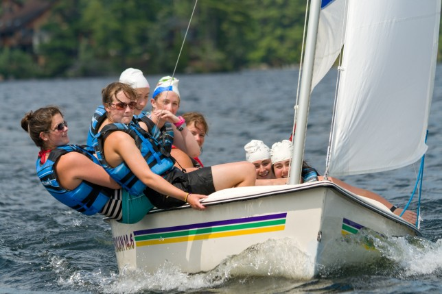 Campers leaning to one side of their sail boat