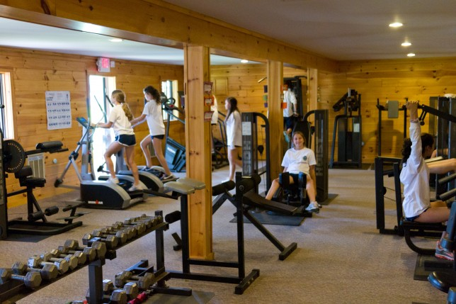 The interior of the fitness center