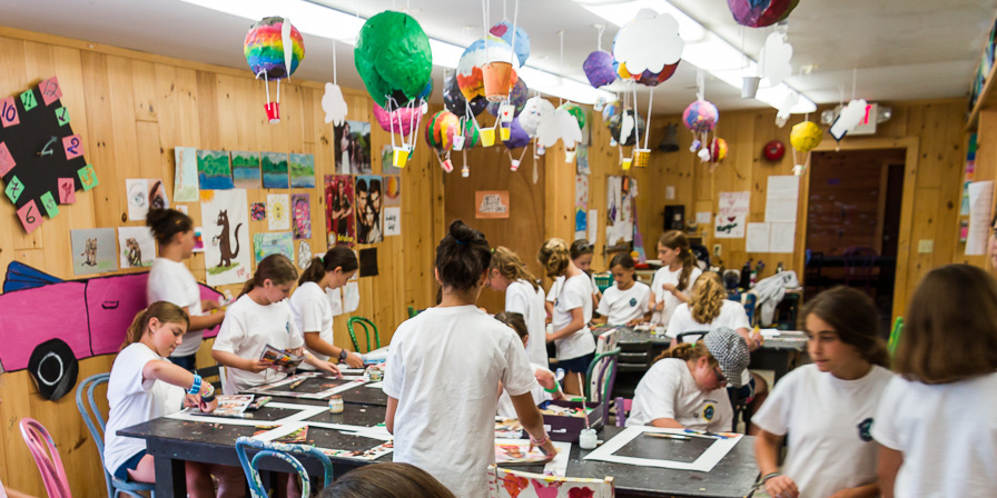 Campers Creating Pictures at Arts & Crafts