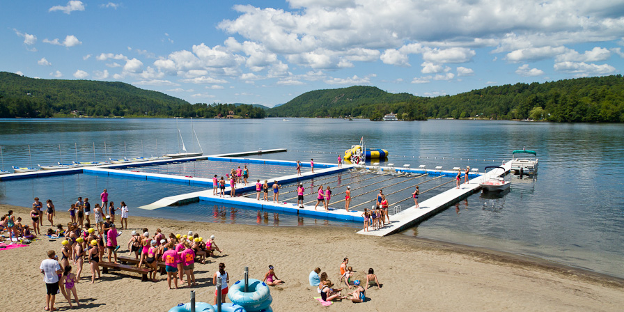 The Brant Lake waterfront at Point O'Pines Camp for Girls