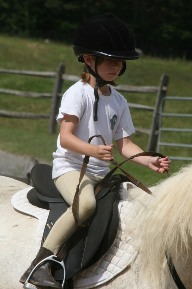 A young camper learning to ride a horse