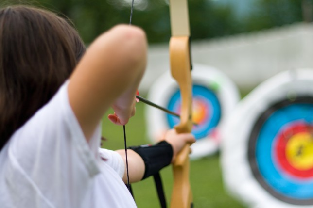 Taking aim at an archery target
