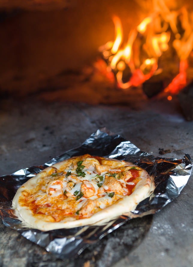 Delicious wood-fired oven pizza