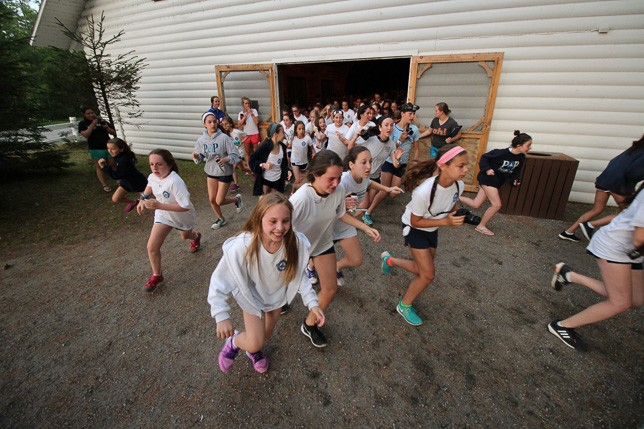 Campers running to Breakout 2015.