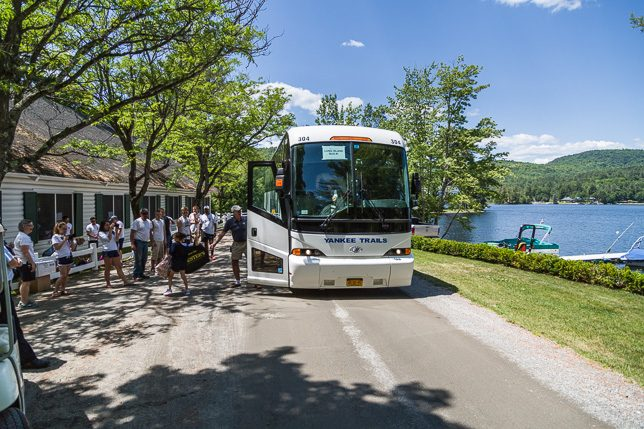 Buses arrive at camp