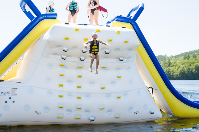 Camper jumping off the Blob.