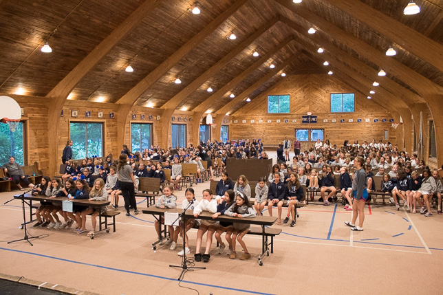 Blue and White Teams compete at Camp Trivia