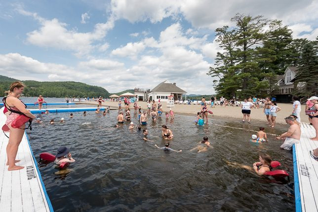 Parents swim with campers and stay cool