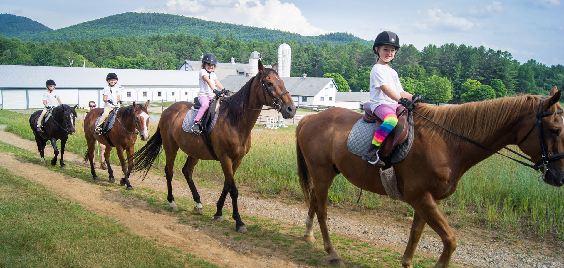 Sleep away camp horseback riding program