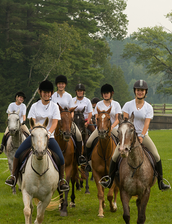 Horseback riding at summer camp in Brant Lake, New York