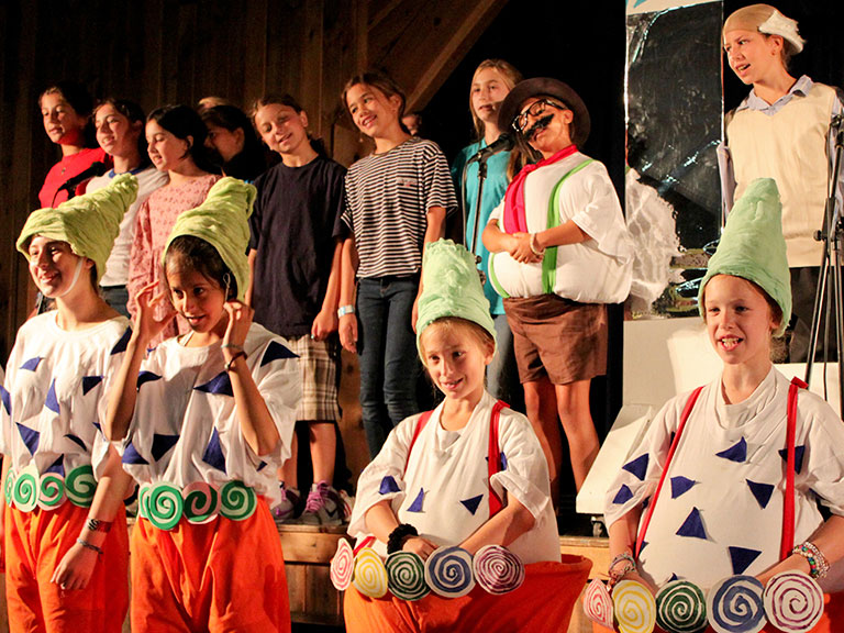 summer campers putting on a play
