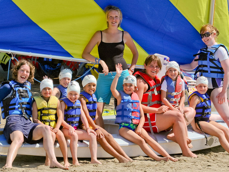 campers on waterfront at summer camp