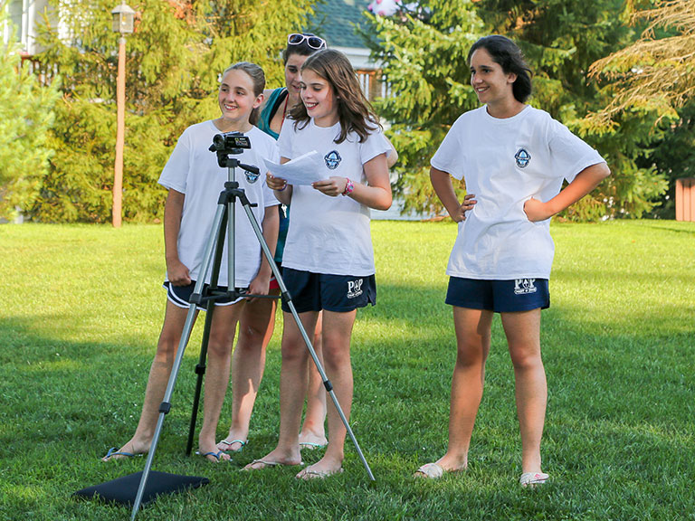campers making video at summer camp