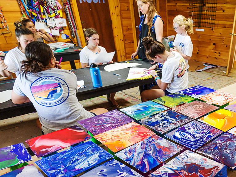 Campers making art