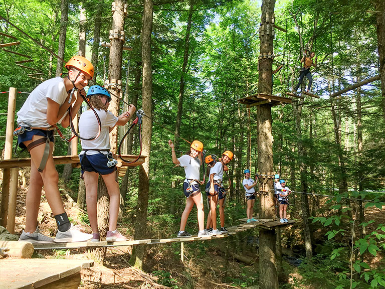 Campers on ropes course
