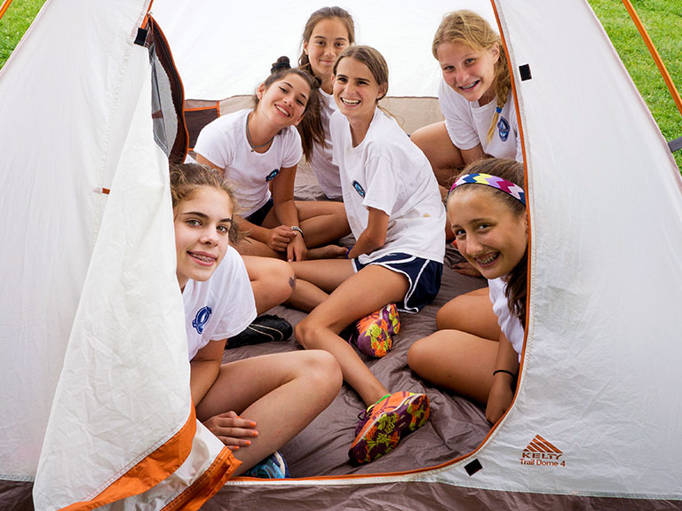 Campers in tent